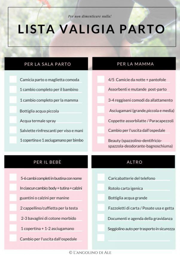 La lista per preparare la valigia per il parto